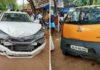 Tata Nano Sandwiched Between 2 Honda City In Kerala - CCTV Video-1