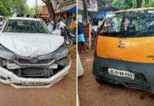 Tata Nano Sandwiched Between 2 Honda City In Kerala - CCTV Video-1