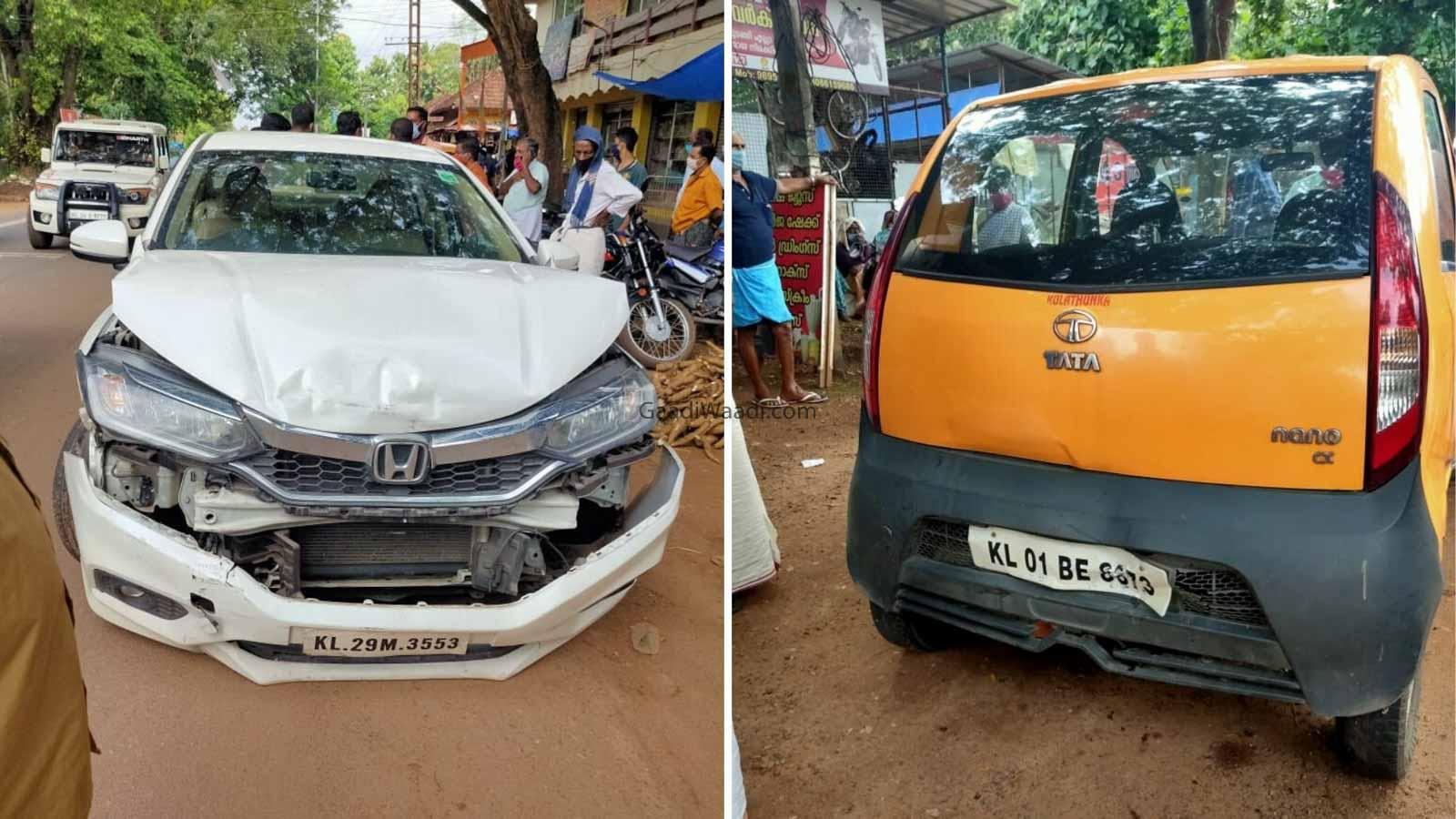 Tata Nano Sandwiched Between 2 Honda City In Kerala – CCTV Video