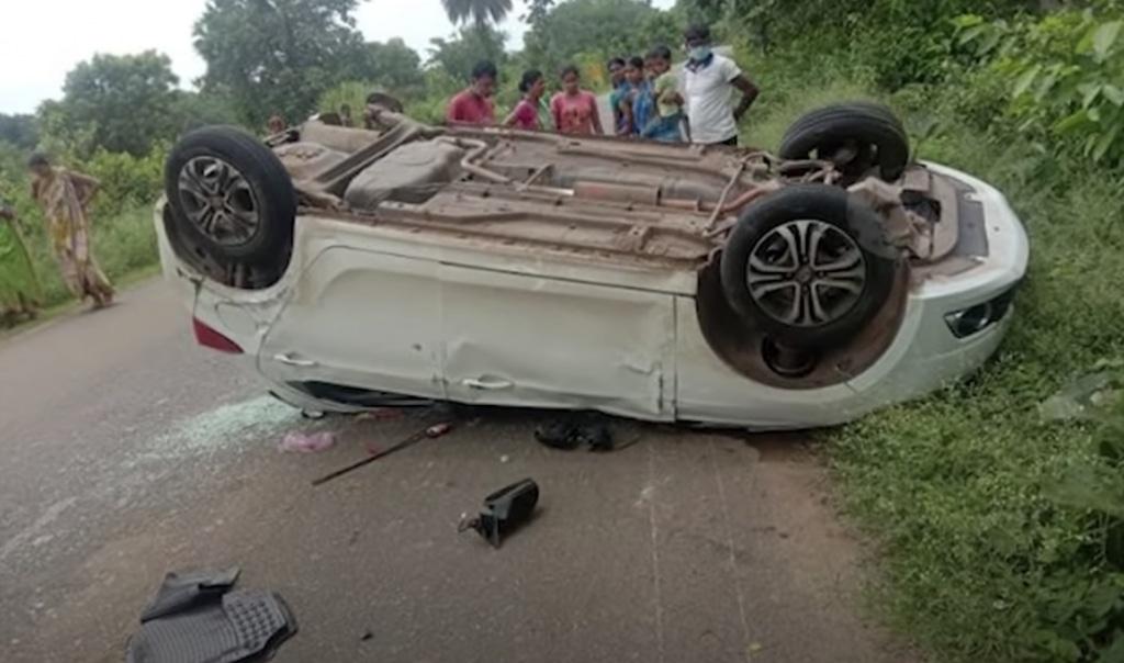 Tata Tiago accident upside down