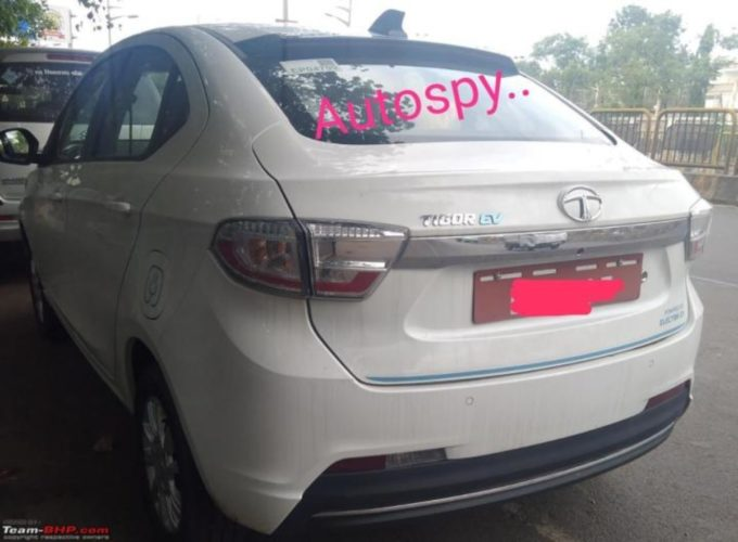 Tata Tigor EV facelift spied rear