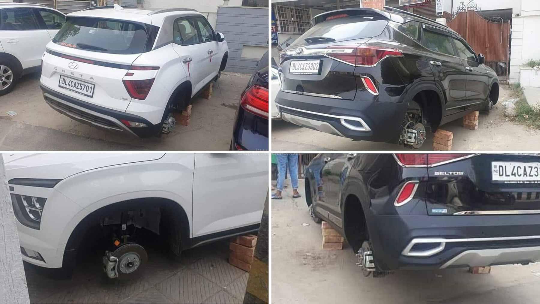All 4 Wheels Of The Brand New Hyundai Creta & Kia Seltos Stolen – Details