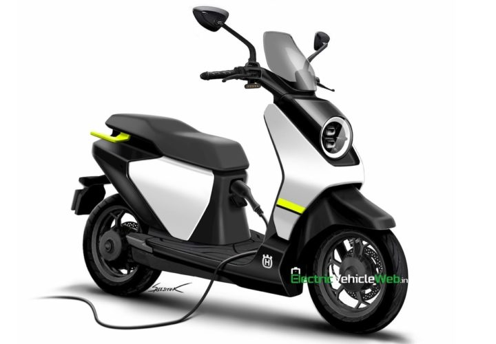 Husqvarna electric scooter rendered charging