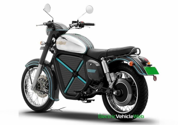 Jawa Electric Motorcycle Rendering rear angle