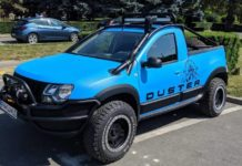 Renault Duster pickup truck modified front three quarter