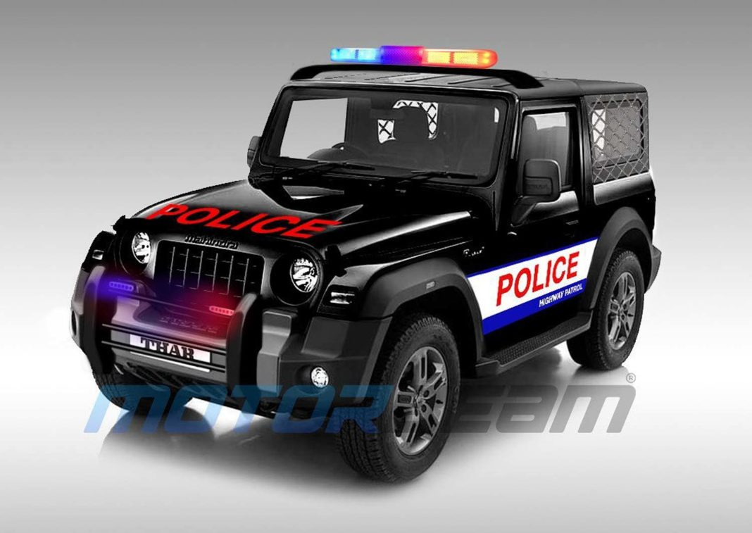 Mahindra Thar Police patrolling vehicle