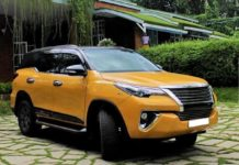 Modified Toyota Fortuner Yellow with Black roof feature