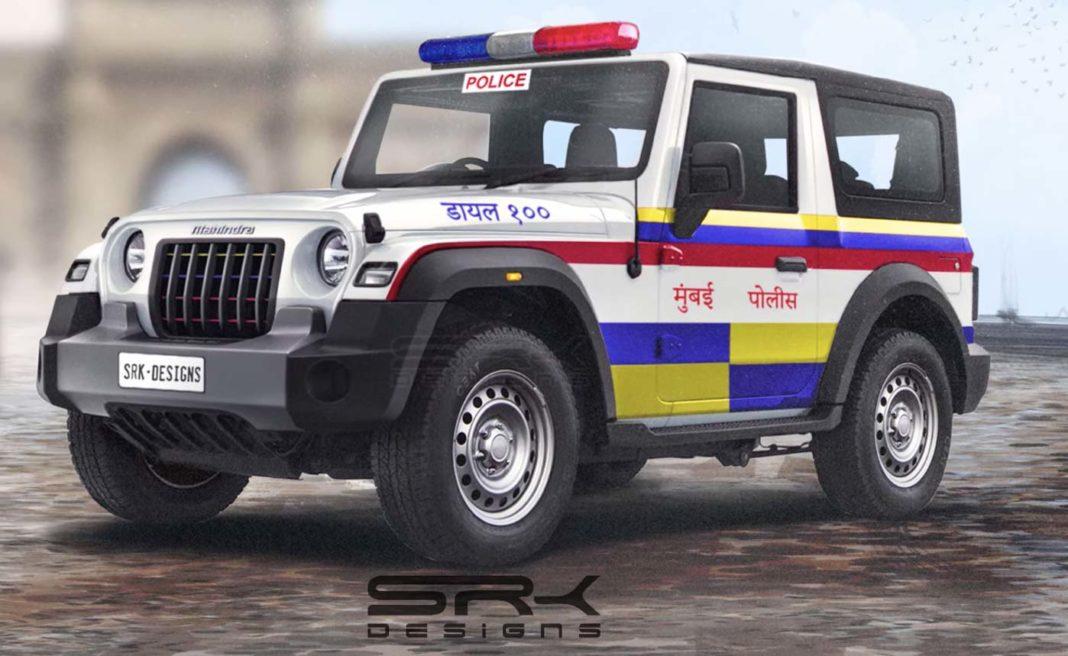 Mahindra thar imagined mumabi police car