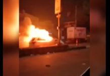 Car catches fire diwali crackers