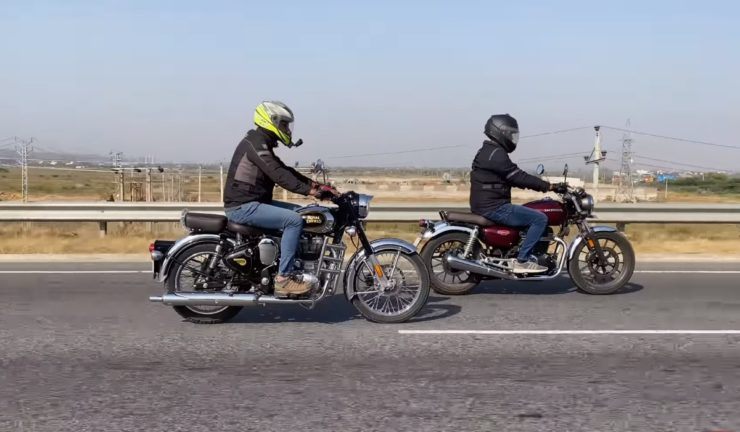 Honda Highness CB350 VS Royal Enfield Classic 350 drag race