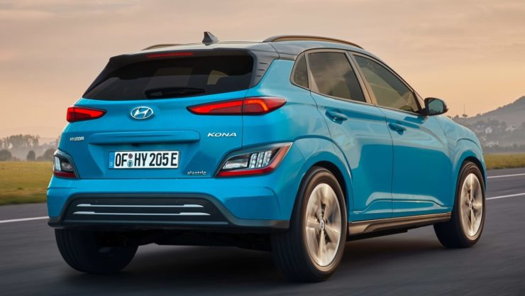 Hyundai Kona EV facelift rear angle