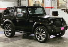modified Mahindra Thar 22-inch wheels front angle