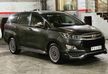 modified Toyota Innova Crysta 18-inch wheels front angle
