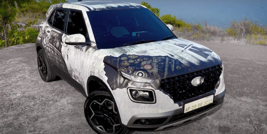 Hyundai Venue modified Terminator wrap front three quarter