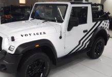 Modified Mahindra Thar white and black