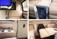 modified Tata Winger luxury lounge interior