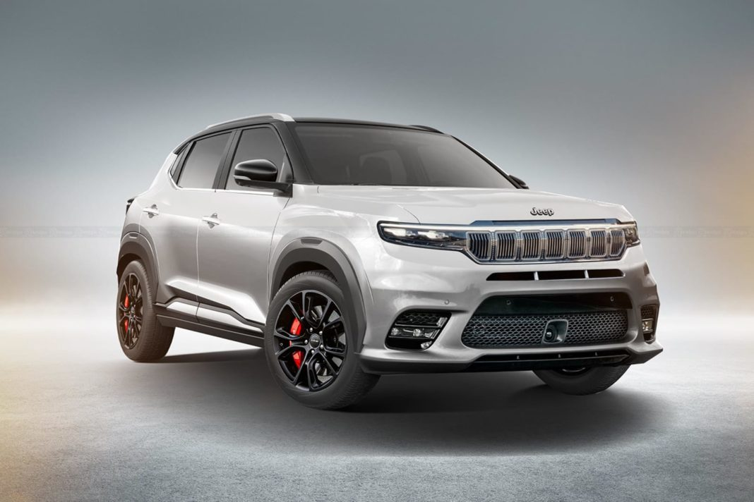 upcoming Jeep sub-4-metre SUV front angle rendering