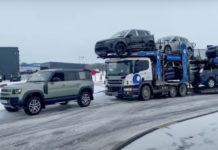 New Land Rover Defender Pulls Car Trailer