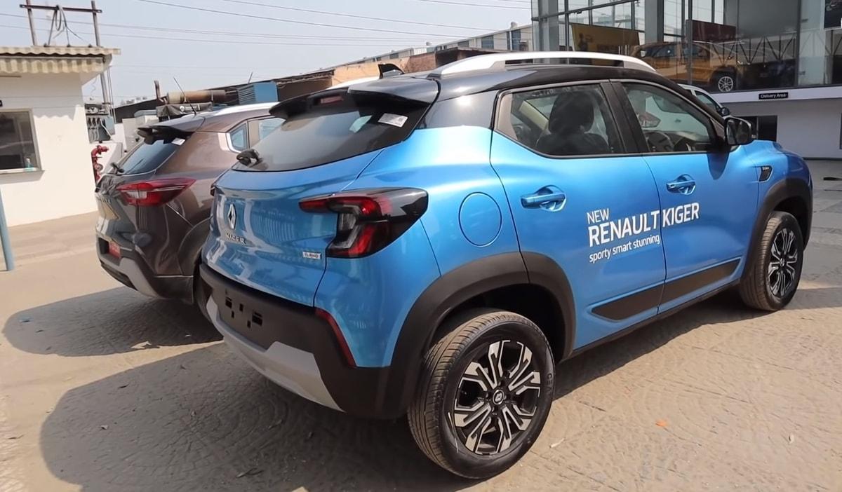 Renault Kiger Nissan Magnite rear three quarter