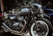 Royal Enfield 650 cafe racer MoTeycycle Garage front