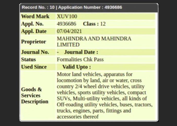 Mahindra XUV100 trademark filed