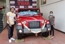 T Natarajan Receives Promised Mahindra Thar