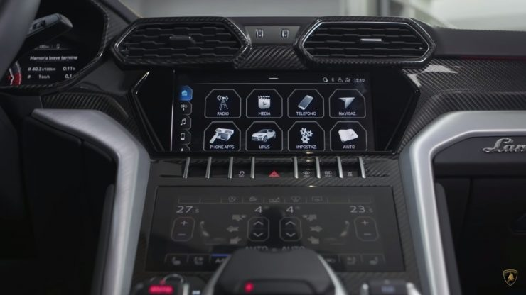 Lamborghini Urus carbon fibre interior accessories