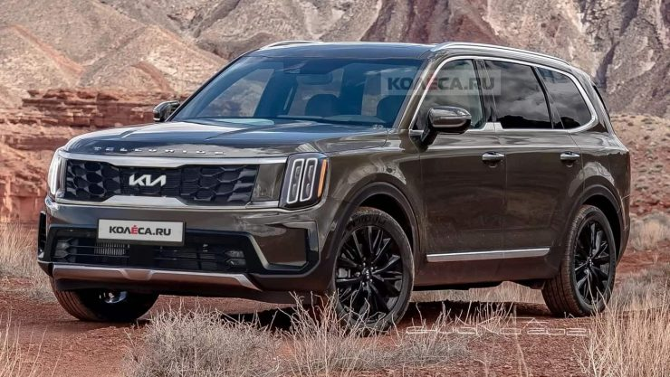 2023 Kia Telluride facelift rendering front angle