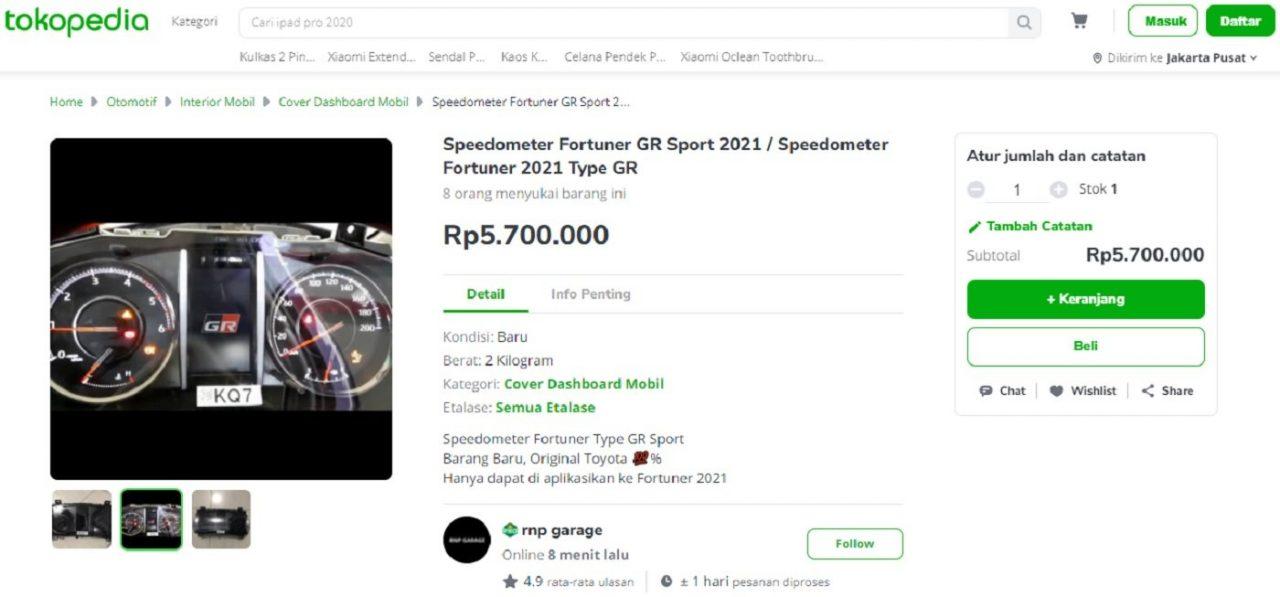 Konsol Instrumen Olahraga Toyota Fortuner GR untuk dijual