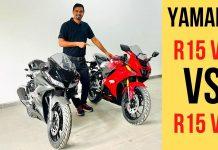 Yamaha R15 v4 vs v3 video comparison