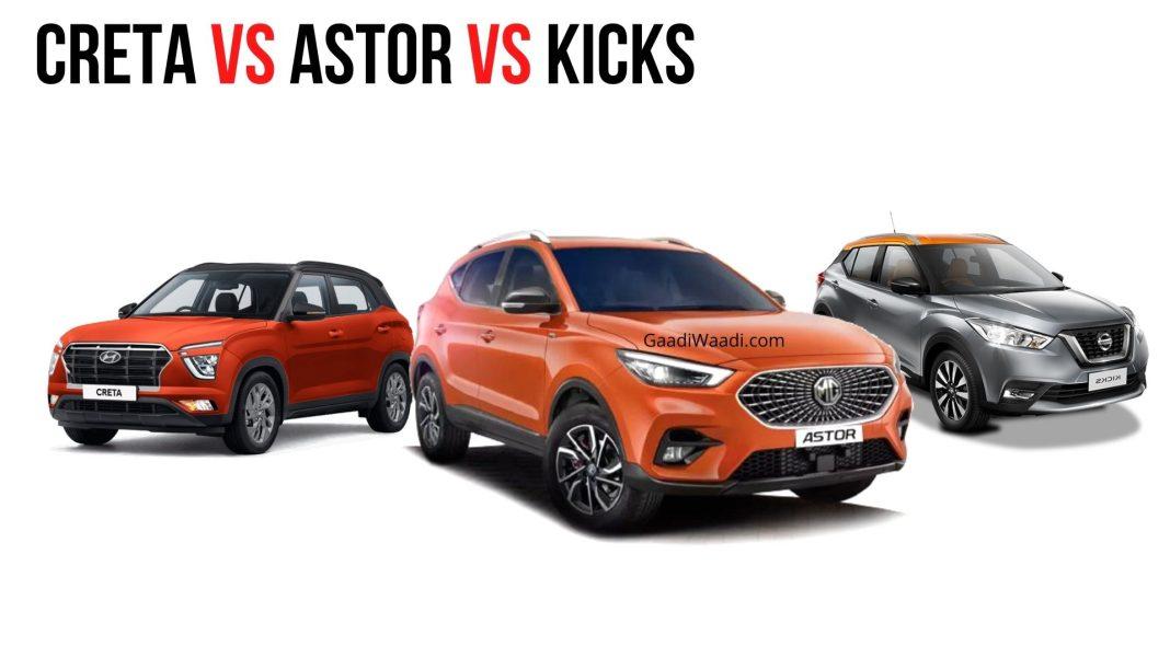 MG Astor Turbo v Hyundai Creta Turbo v Nissan Kicks Turbo
